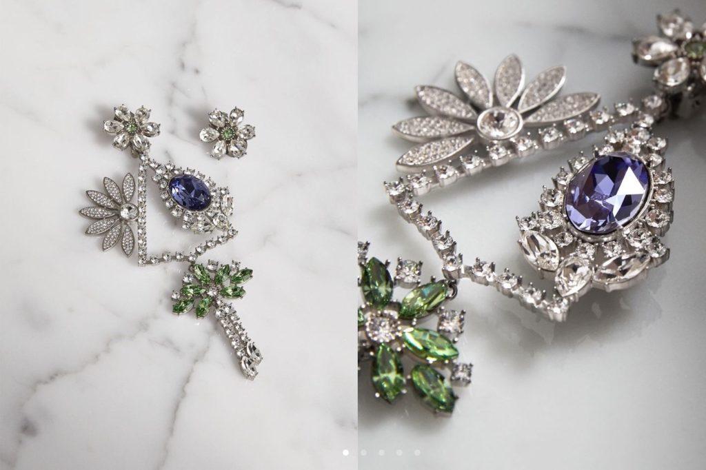 Burberry blue crystal earrings